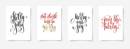 Set of hand lettering vector posters on a white sheet of paper