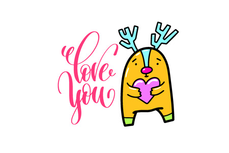 Love you - positive hand lettering poster with doodle drawings - funny deer keeps in the heart, calligraphy vector illustration Ilustração