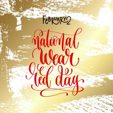 2月2日 - 国民的摩耗赤い日 - 休日のデザインに金色のブラシストロークの背景に手書きの碑文テキスト、書道ベクトルイラスト 写真素材 - 92527428