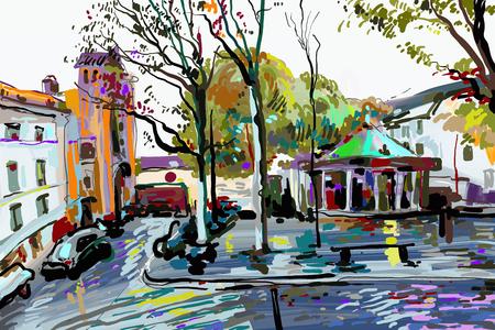 パリ風景のデジタル絵画、現代美術ベクトルイラスト  イラスト・ベクター素材