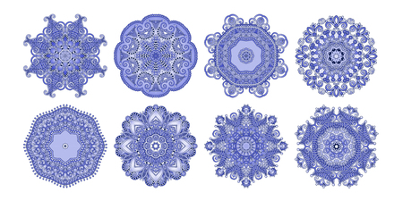 set of 8 circle paisley pattern to winter snowflakes design or spring flower poster, vector illustration collection