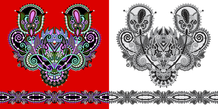 Impresión de bordado de collar para el diseño de moda para camisetas y blusas de cuello, línea de cuello étnico de flores, ilustración vectorial Foto de archivo - 92794827