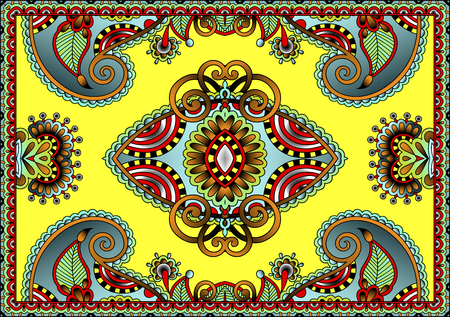 ethnic traditional carpet design to print on fabric or paper, vector illustration Vectores