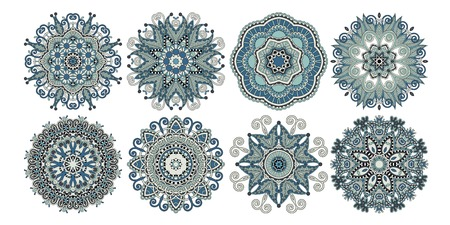 Set of decorative circle patterns, ethnic flower paisley design