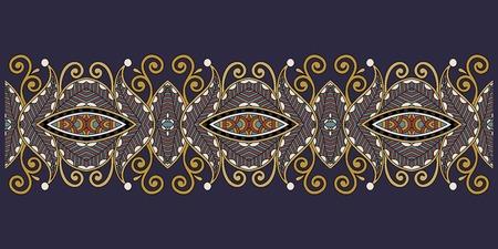 Decorative floral stripe pattern, ethnic paisley design, vector illustration. Illustration