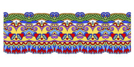 Decorative ethnic stripe pattern, Indian paisley design vector illustration Illustration