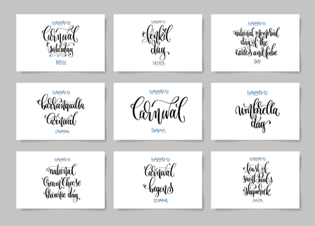 Set of nine hand lettering posters about february 10 world winter h