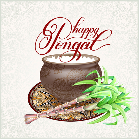 A happy Pongal greeting card to south indian harvest festival