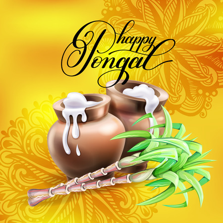 A happy pongal greeting card to south indian harvest festival a happy pongal greeting card to south indian harvest festival stock vector 93549416 m4hsunfo
