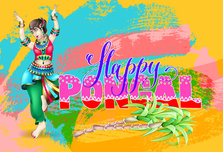happy Pongal - contemporary art celebration design to south indi Illustration