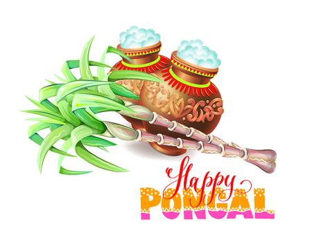 happy pongal greeting card to south indian harvest festival, vector illustration