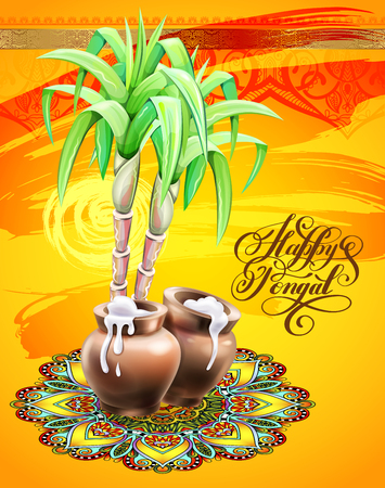 happy Pongal greeting card to south indian winter holiday design Illustration