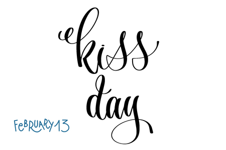february 13 - kiss day - hand lettering inscription text