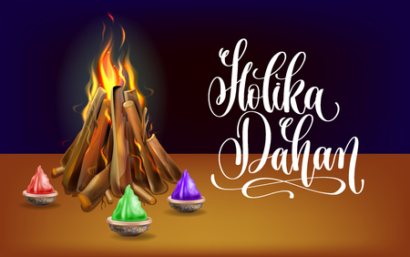 Holika Dahan celebration poster ti indian winter holiday design, vector illustration