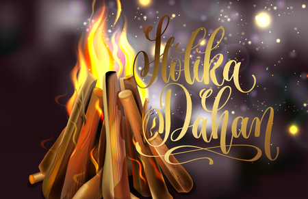 Holika Dahan greeting card design with a realistic fire