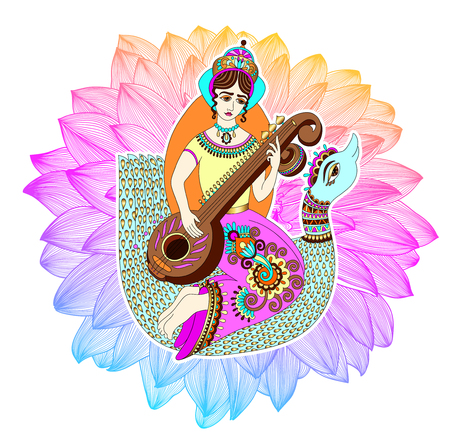 Indian goddess Saraswati playing on veena astride a swan against the background of a rainbow lotus, vector illustration