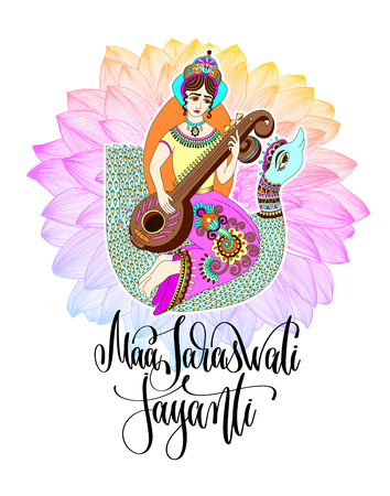Maa Saraswati Jayanti greeting card design to indian festival with goddess playing on veena astride a swan against the background of a rainbow lotus and hand lettering text, vector illustration