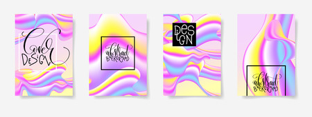 fluid color covers set with abstract background, trendy design Vettoriali