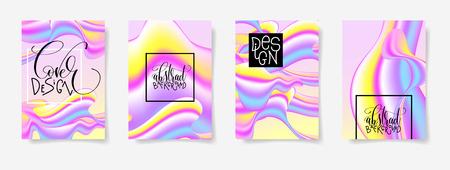 fluid color covers set with abstract background, trendy design Ilustração