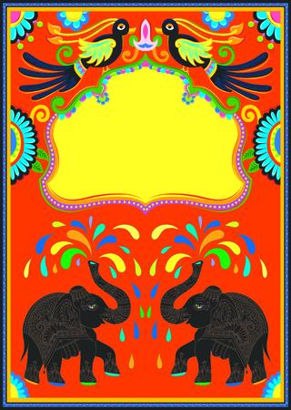 Indyjskie ramki z ptaków, słonia i kwiaty w stylu kiczu sztuki ciężarówki, ilustracji wektorowych.