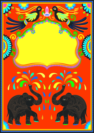 Indian frame with birds, elephant and flowers in truck art kitsch style, vector illustration.