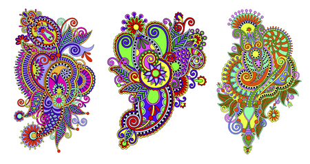 Paisley flower pattern in ethnic style, indian decorative floral design, vector illustration