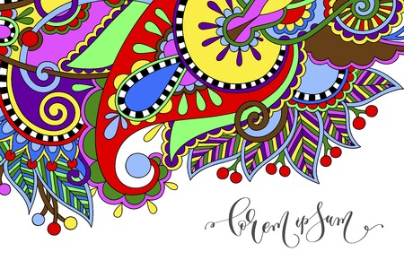 paisley flower pattern in ethnic style, indian decorative floral