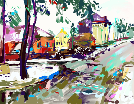 Digital painting artwork of village winter landscape