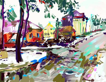 Digital painting artwork of village winter landscape