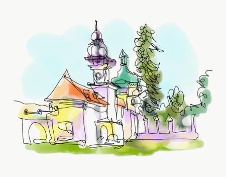 digital watercolor painting of little church in western Ukraine Stock Photo