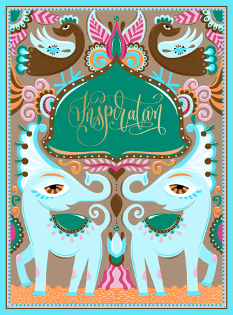 indian frame with birds, elephants and flowers in truck art kitsch style with hand lettering inscription - inspiration, vector illustration