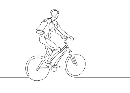 continuous one line drawing of young woman riding a bicycle