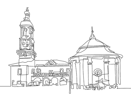 Continuous one line drawing of town hall and ancient well. Illustration