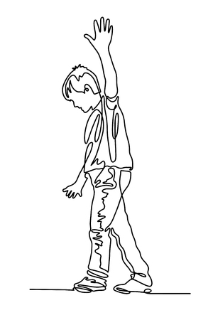 Un dibujo continuo del niño camina por la cuerda floja.