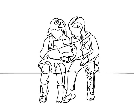 Continuous one line drawing of two girls are sitting and reading.