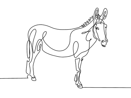 Continuous one line drawing of donkey in modern style. Vector Illustration