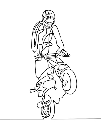Continuous one line drawing of a sportsman on a motorcycle.