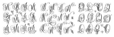calligraphy letters set M, N and O, script font Isolated on white written with ink, vector illustration Çizim