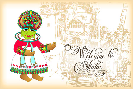 Welcome to India travel card design with hand lettering inscript Illustration