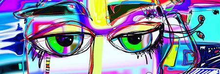 digitale abstracte kunstposter met doodle menselijke ogen