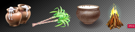 set of realistic clay pot with rice, sugarcane and fire