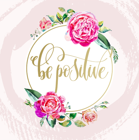 be positive - golden hand lettering text on pink brush stroke ba Archivio Fotografico - 104971016