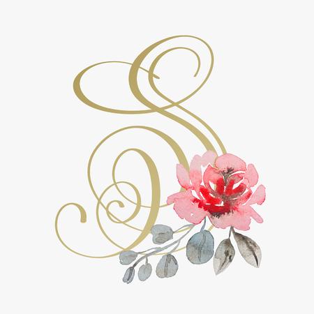 golden hand lettering font with handmade rose flower 矢量图像