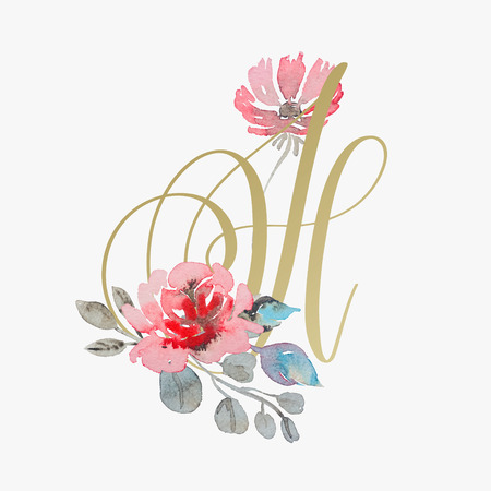 golden hand lettering font with handmade rose flower Vettoriali