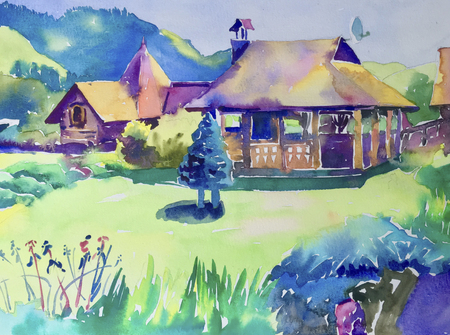 handmade watercolor painting of rural landscape