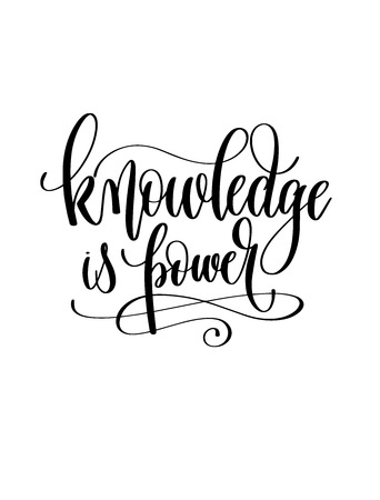knowledge is power - hand lettering inscription text for back to school holiday celebration design, calligraphy vector illustration Çizim