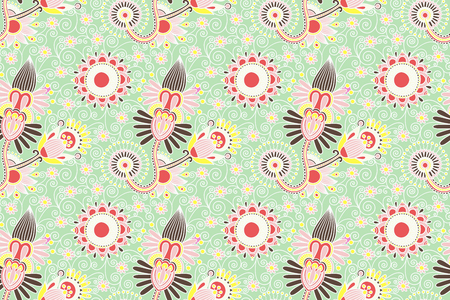 decorative flower seamless pattern, paisley indian design vector illustration