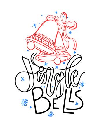 jingle bells - holiday hand lettering poster, celebration design Christmas hand drawing card, vector illustration