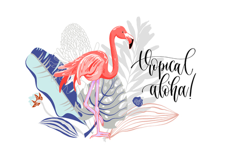 tropical aloha - hand drawing slogan with flamingo and bouquet of tropical leaves and flowers, vector illustration
