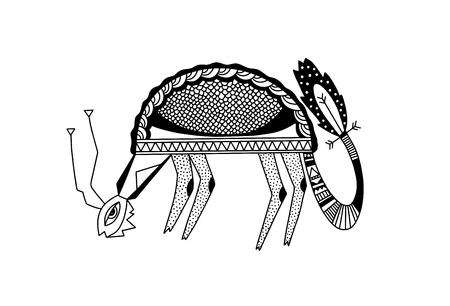 ethnic animals folk art, black and white vector illustration